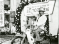 Founder, Soichiro Honda on a Super Cub (at Memorial Ceremony in 1971 of cumulative production of motorcycles reached 10 million unit milestone at Suzuka Factory)