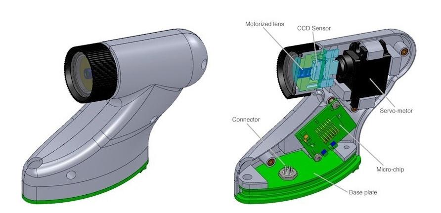 כך נראים חלקי המצלמה מבפנים. CCD (חיישן), ומאחוריו מנוע חשמלי