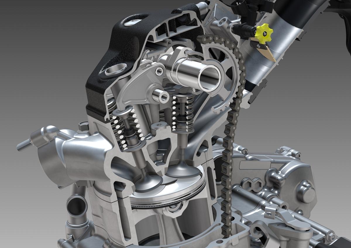 חתך של ראש המנוע - מנגנון ה-UNICAM, השסתומים, תא השריפה והבוכנה