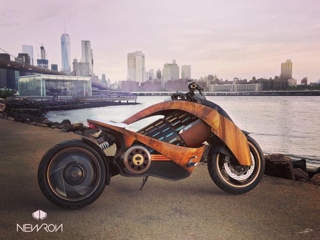 האופנוע החשמלי של Newron העשוי מעץ