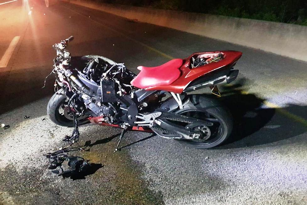 האופנוע שעליו נהרג הרוכב בכביש 85