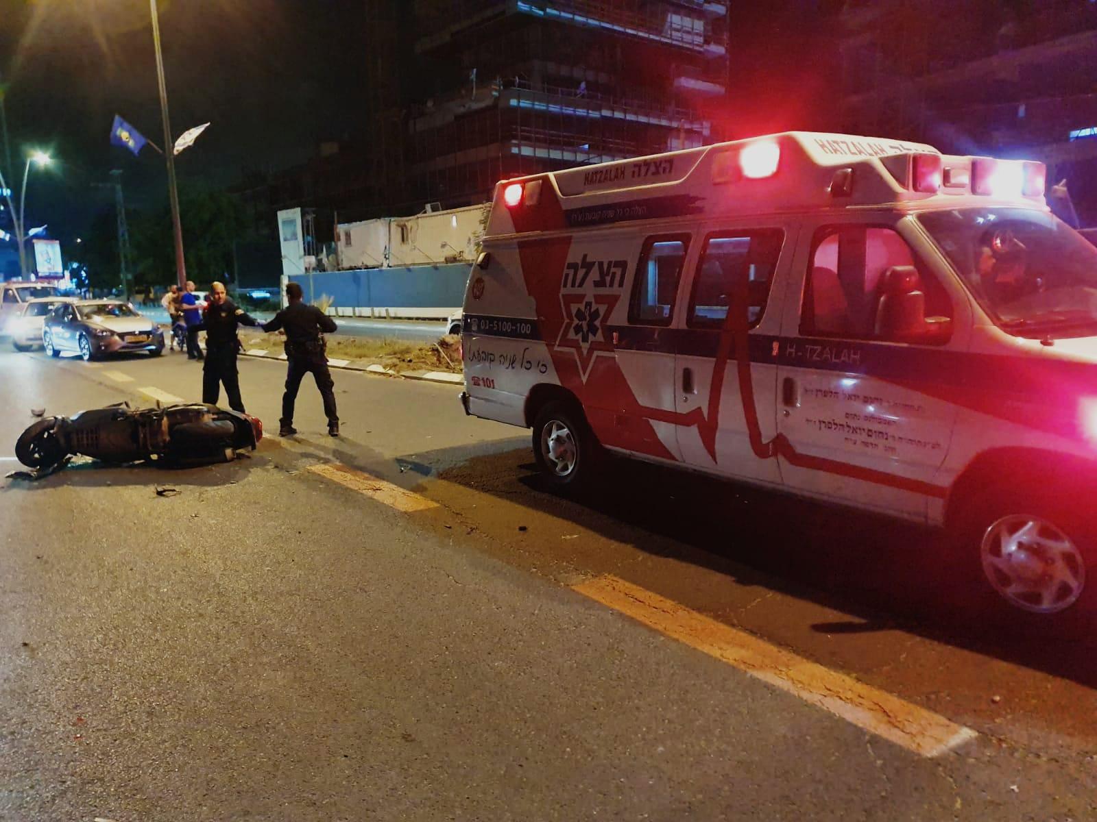 זירת התאונה ברחוב ששת הימים בבני ברק