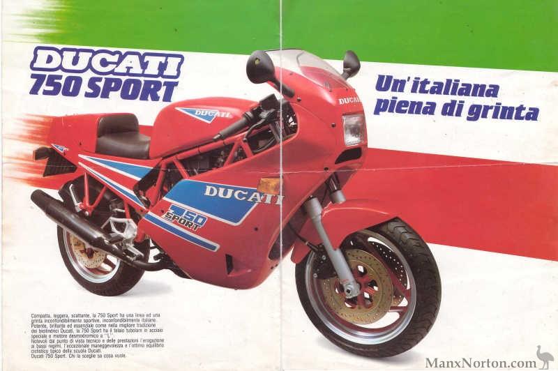הכרזה של דוקאטי ל-750 ספורט מ-1988