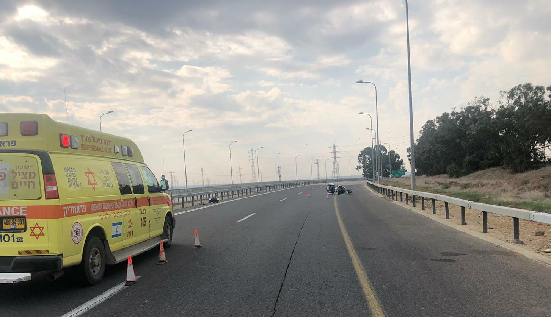זירת התאונה שבה נהרג הרוכב בן ה-54