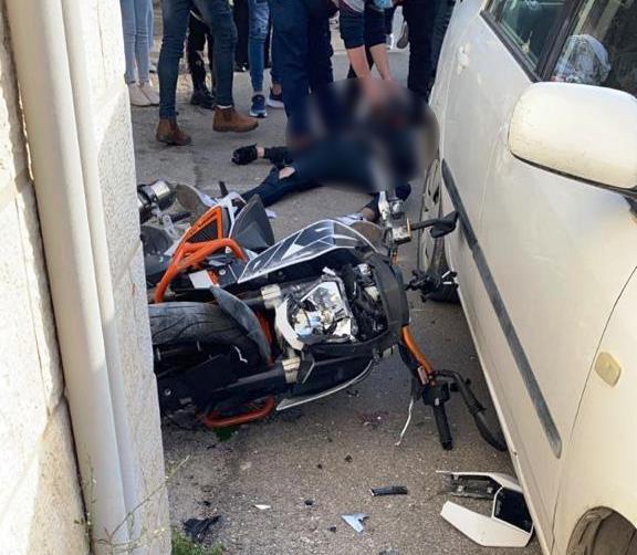 זירת התאונה בבית צפאפא שבה נהרג הרוכב בן ה-17