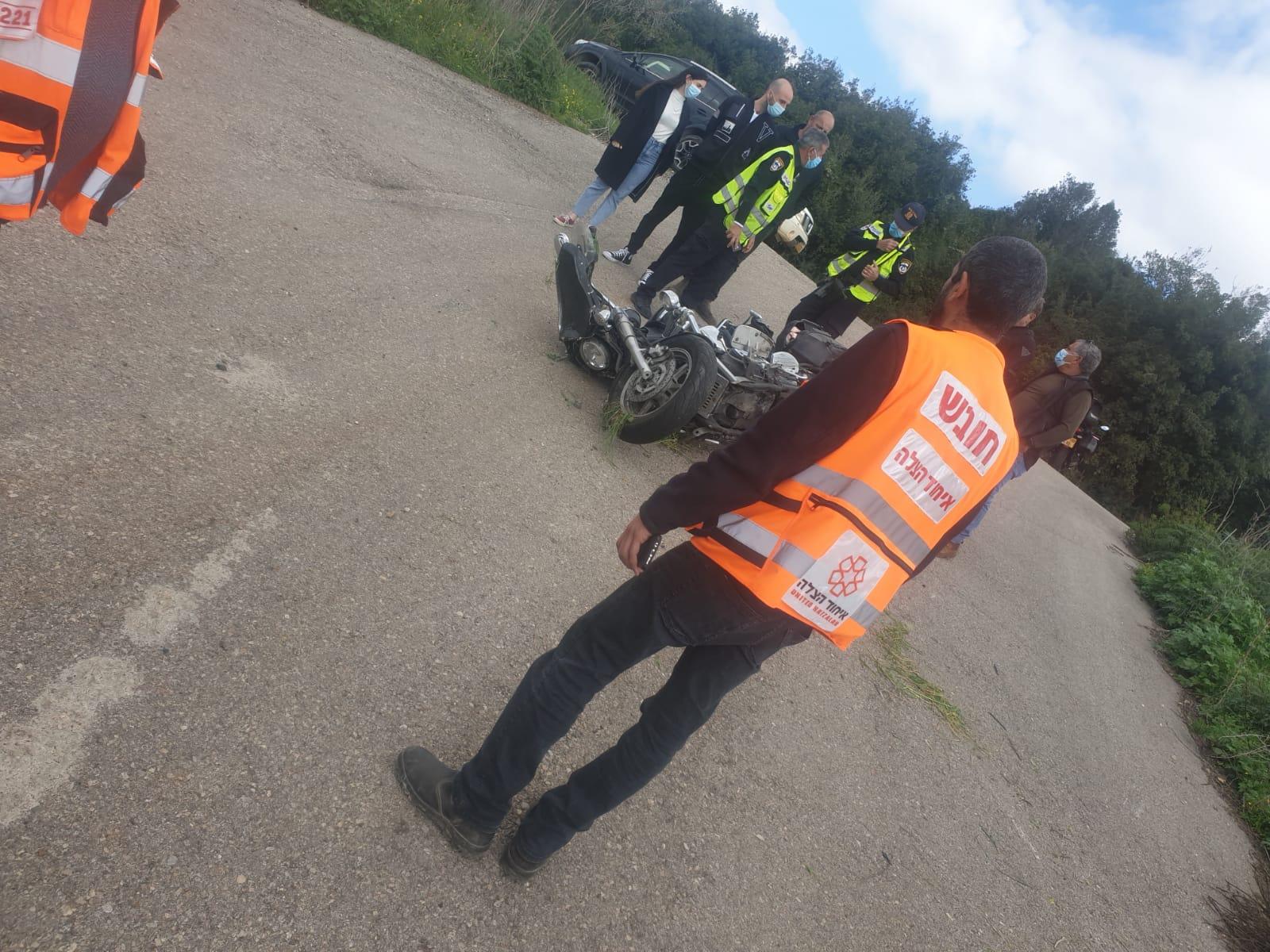 זירת התאונה בכביש 899 שבה נהרג הרוכב בן ה-70