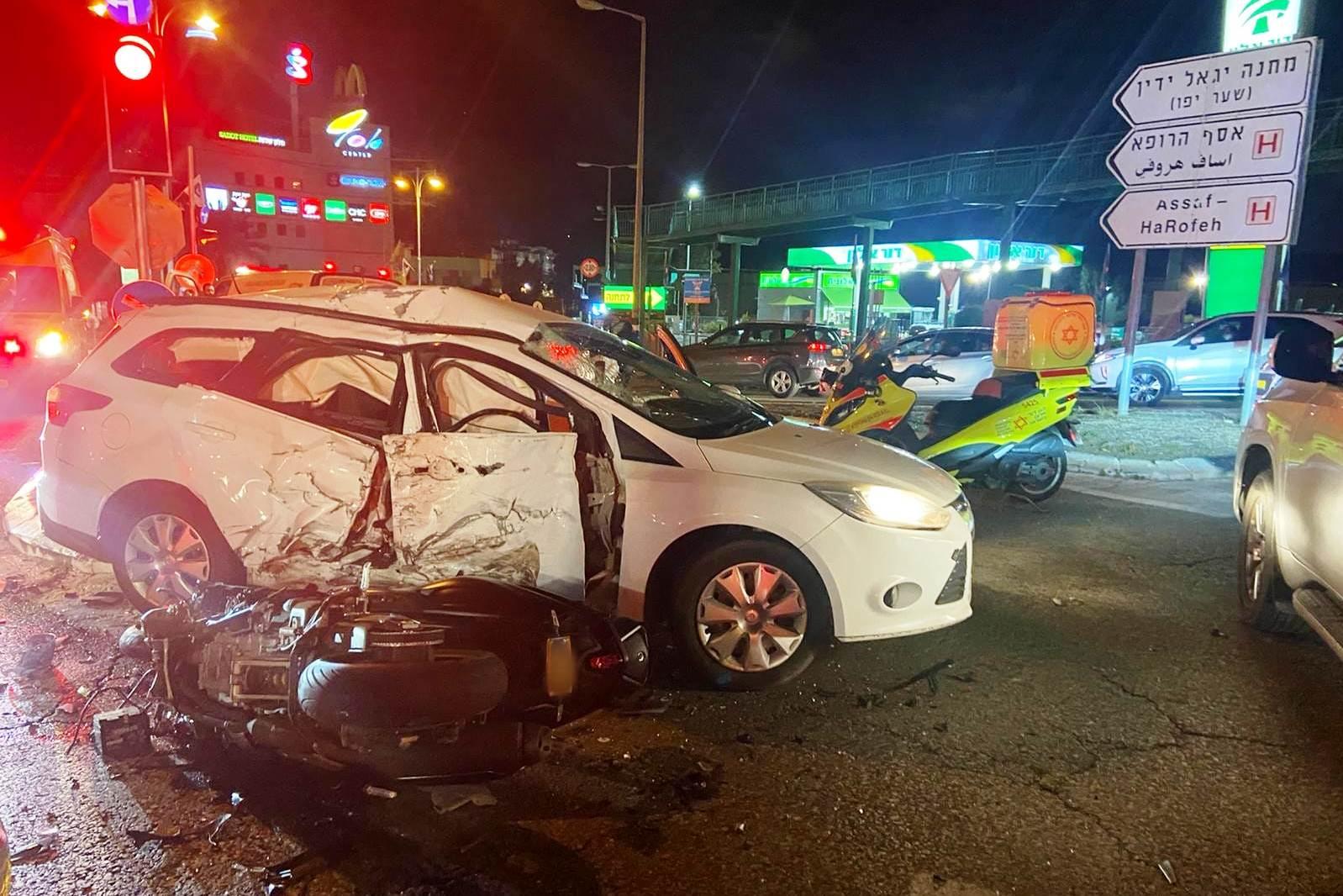 זירת התאונה בצומת צריפין שבה נהרג הרוכב בן ה-30