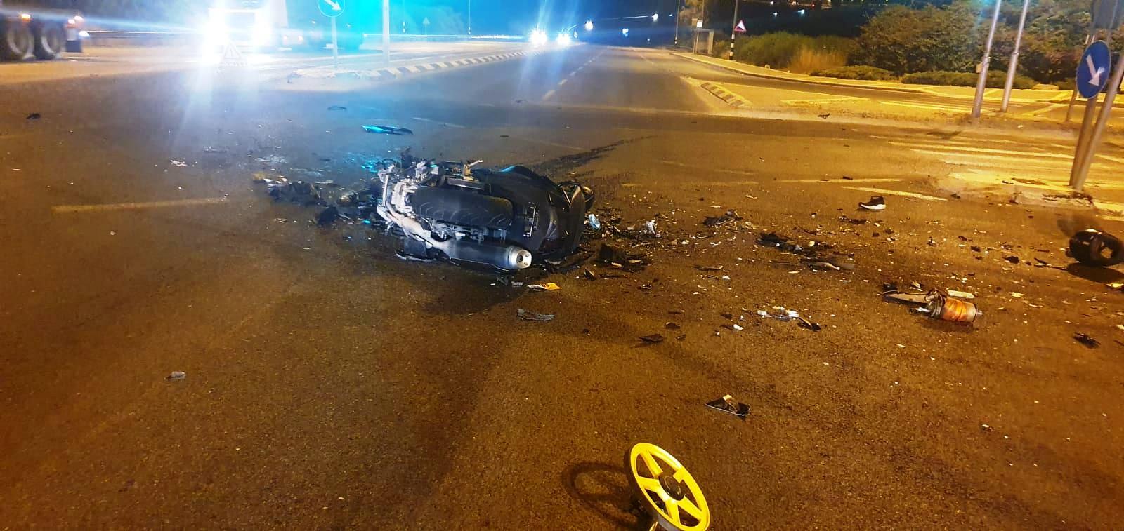 זירת התאונה בכביש 65 סבה נהרג הרוכב בן ה-18