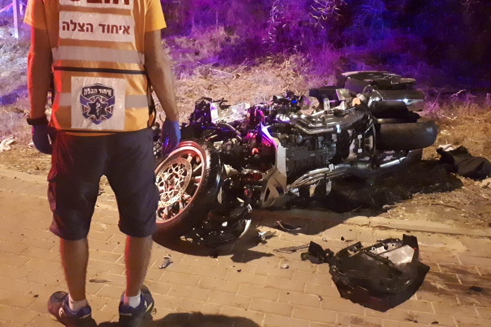 זירת התאונה שבה נהרג הרוכב בן ה-50